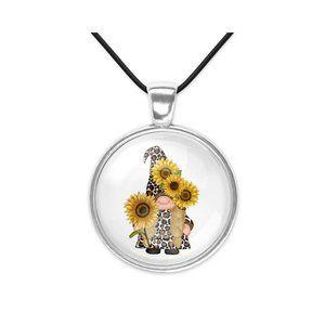 Autumn Sunflower Fall Gnome Glass Pendant Necklace